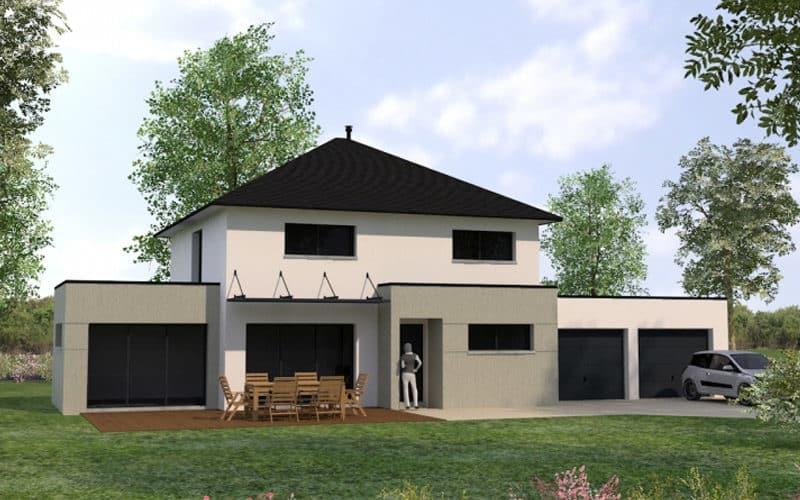 Projet maison contemporaine avec double garage