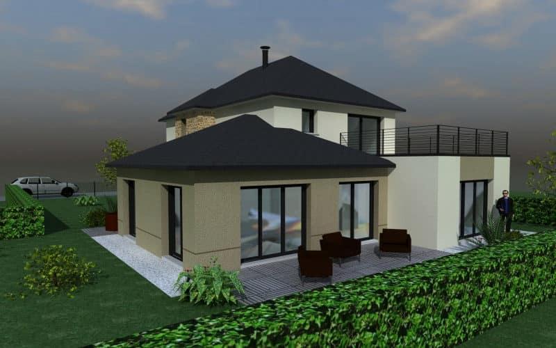 Projet maison contemporaine avec extension (vue2)