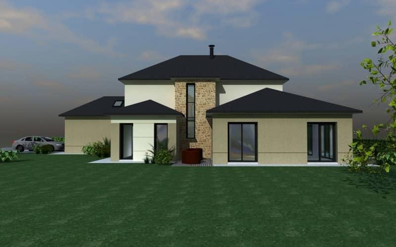 Projet maison contemporaine avec extension