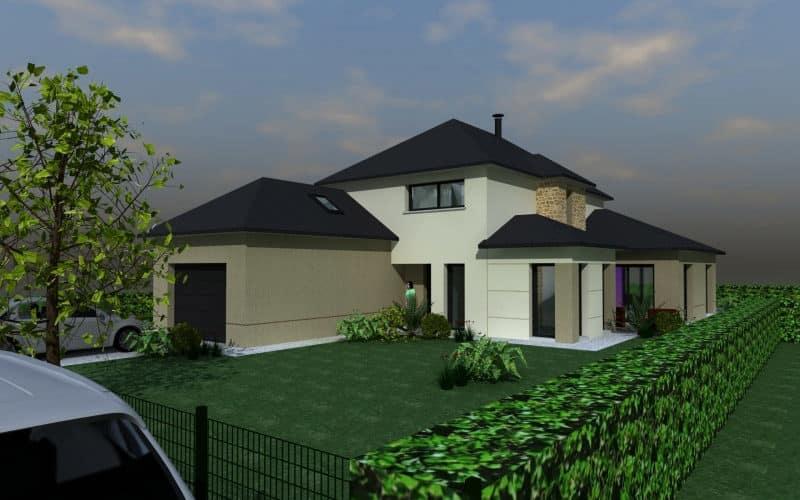 Maison contemporaine avec extension