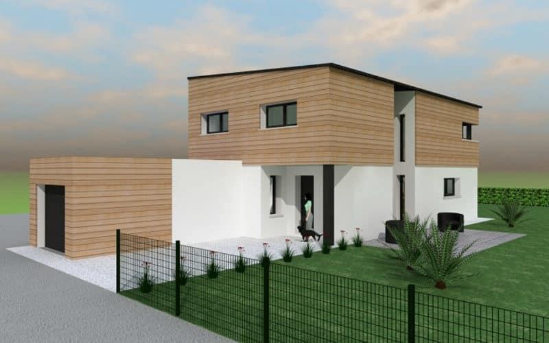 Maison contemporaine avec bardage bois vue2