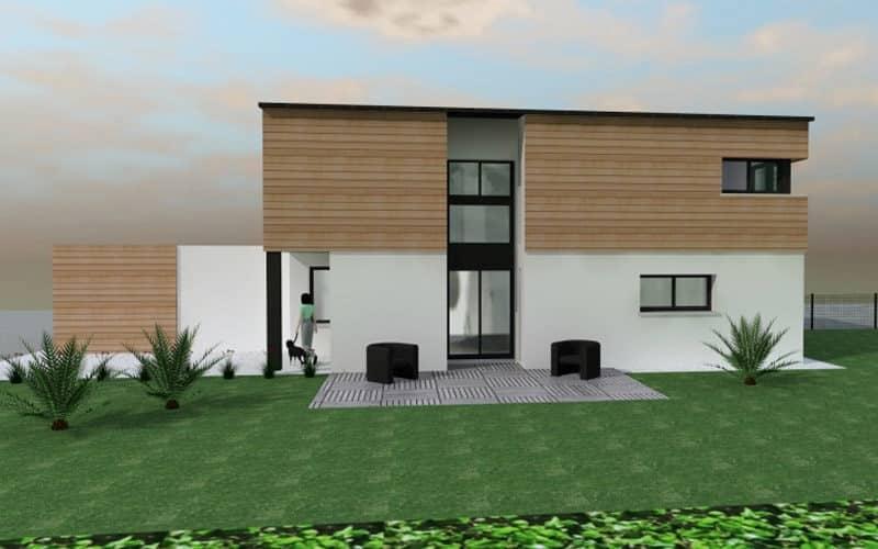 Maison contemporaine avec bardage bois vue1