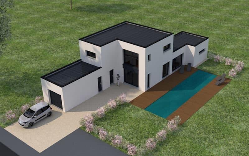 Toit de maison contemporaine plat projet avec piscine
