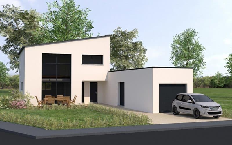 Toit de maison contemporaine plat à Rennes projet