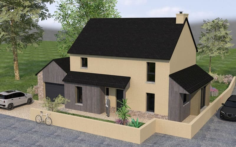 Maison traditionnelle avec du bardage en bois vue 2