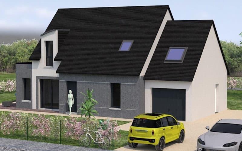 projet de maison moderne et traditionnelle vue 3