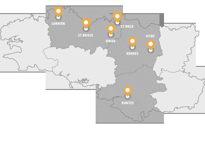 Carte de nos agences en bretagne (étendue)