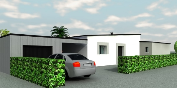Maison plain pied toit plat zinc maisons demeurance - Maison plain pied toit monopente ...
