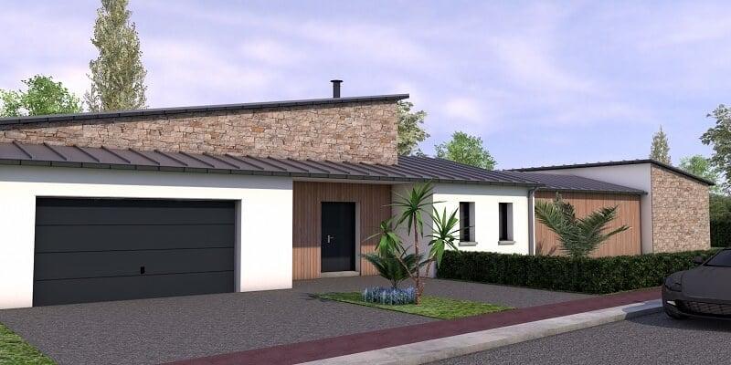 Maison contemporaine de plain pied St meloir des ondes vue2