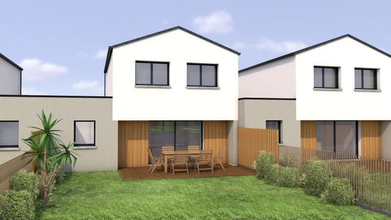 Projet construction de maison moderne a étage en bretagne et loire atlantique vue 2