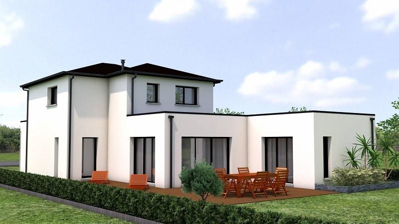 Maison traditionnelle et moderne avec étage et toit plat vue2
